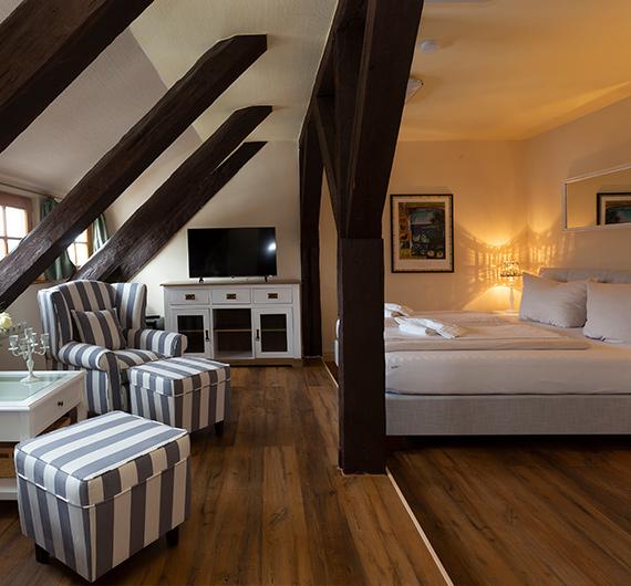 Wohnbereich mit Couch, TV und Doppelbett